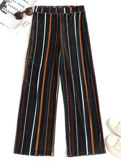 Striped Velvet Wide Leg Pants - Stripe L
