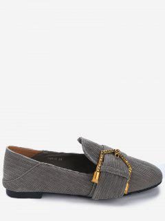 Buckled Detachable Insoles Flats - Gray 39