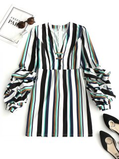 Gathered Sleeve Stripes Mini Dress - Stripe M