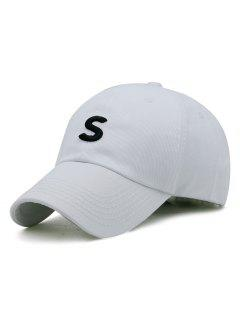 S Pattern Embroidery Adjustable Baseball Cap - White