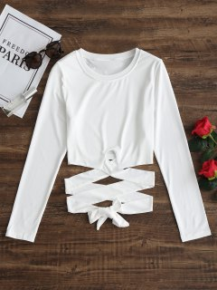 Cropped Tie Criss Cross Top - White L