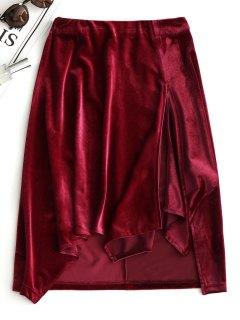 Slit Velvet Asymmetrical Skirt - Wine Red M