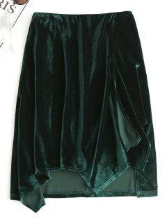 Slit Velvet Asymmetrical Skirt - Blackish Green M