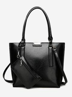 Back Zip Pocket Shoulder Bag With Wristlet - Black