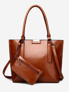 Back Zip Pocket Shoulder Bag With Wristlet - Deep Brown