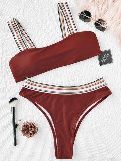 Conjunto De Bikini De Corte Alto Con Rayas A Rayas - Rojo Ladrillo M