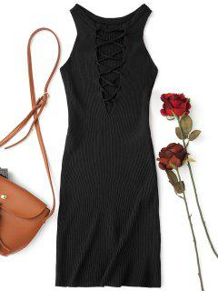 Sleeveless Knitting Lace Up Bodycon Mini Dress - Black