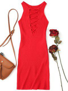 Sleeveless Knitting Lace Up Bodycon Mini Dress - Red