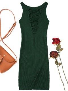 Sleeveless Knitting Lace Up Bodycon Mini Dress - Blackish Green