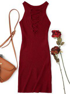 Sleeveless Knitting Lace Up Bodycon Mini Dress - Wine Red