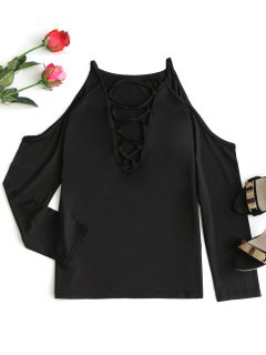 Cold Shoulder Lace Up T-shirt - Black Xl