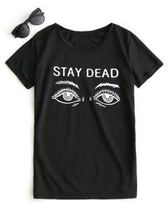 T-shirt à Motif à Manches Courtes - Noir L