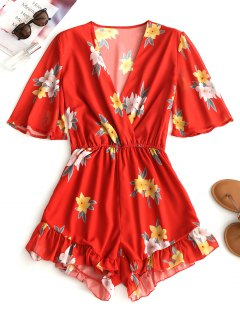 Chiffon Floral Ruffle Romper - Red S