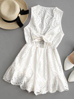 Hollow Out Bowknot Sleeveless Plunge Romper - White S
