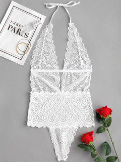 Halter Sheer Lace Teddy - Blanco M