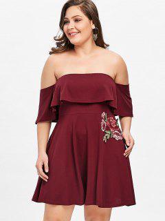 Applique Off Shoulder Plus Size Skater Dress - Wine Red 2xl