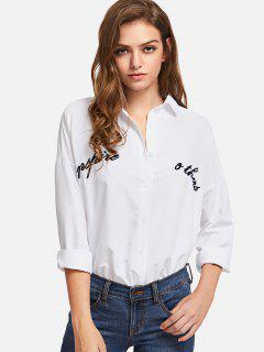 Embroidered Oversized Shirt - White M