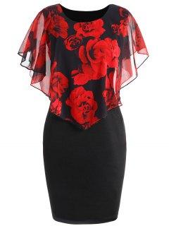 Robe Couverture à Rose Saint-Valentin Grande Taille - Noir&rouge 5xl