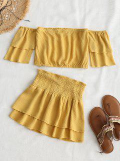 Conjunto De Falda Superior Y Falda Con Hombros Descubiertos - Luz Amarilla L
