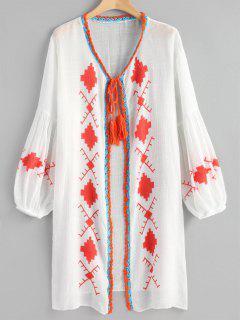 Tie Front Geometric Balloon Sleeve Beach Kimono - White