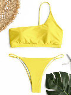Ein Schulter Bikini Set - Gelb S