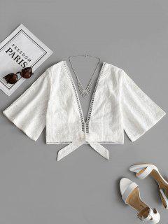 Crochet Panel Bowknot Hem Blouse - White M