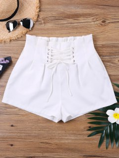 High Waist Lace Up Shorts - White M