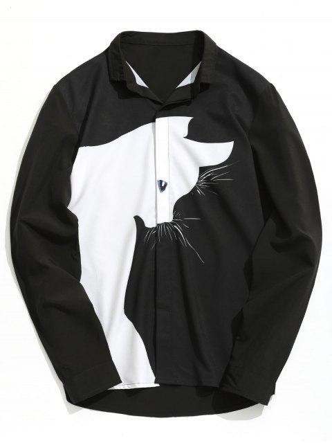 Color Block Cartoon Cat Shirt - Negro 3XL Mobile