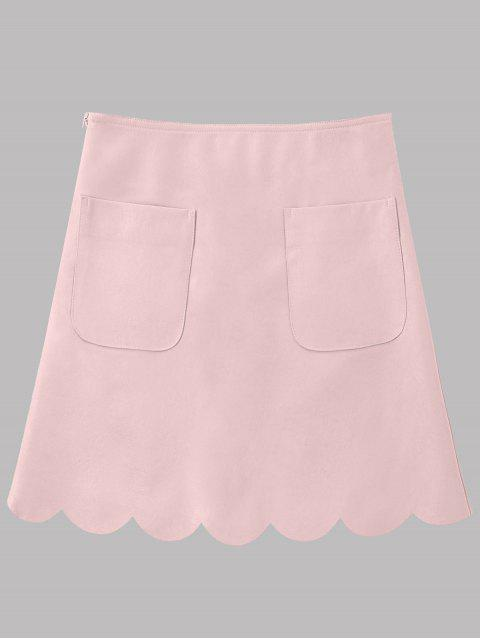 fashion Faux Leather Scalloped A-line Skirt - PINK XL Mobile