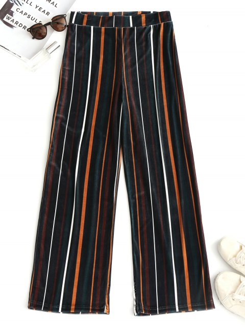 outfit Striped Velvet Wide Leg Pants - STRIPE L Mobile