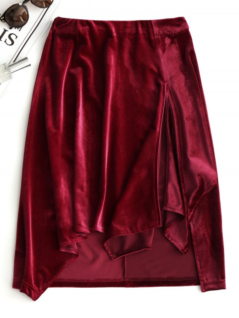 shop Slit Velvet Asymmetrical Skirt - WINE RED S Mobile