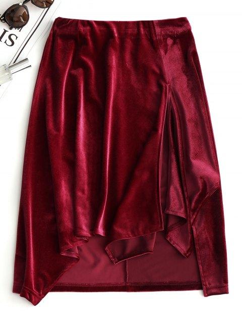 fashion Slit Velvet Asymmetrical Skirt - WINE RED L Mobile