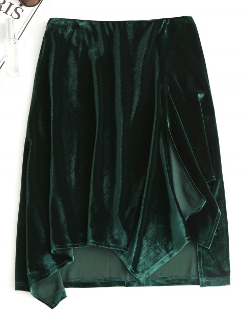 affordable Slit Velvet Asymmetrical Skirt - BLACKISH GREEN S Mobile