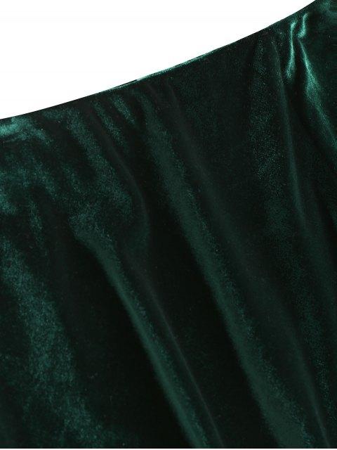 affordable Slit Velvet Asymmetrical Skirt - BLACKISH GREEN S Mobile