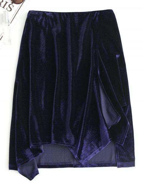 womens Slit Velvet Asymmetrical Skirt - PURPLISH BLUE L Mobile