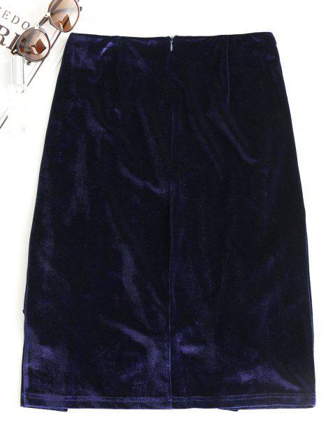 lady Slit Velvet Asymmetrical Skirt - PURPLISH BLUE S Mobile