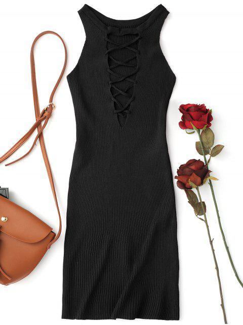 Ärmelloses Gestrickt Schnur gebunden Bodycon Minikleid - Schwarz Eine Größe Mobile