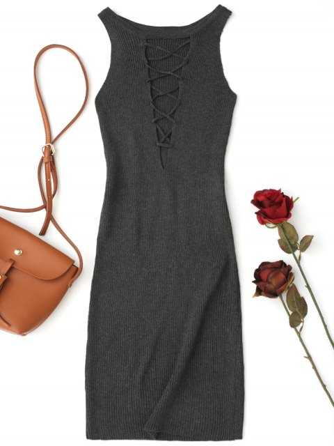 latest Sleeveless Knitting Lace Up Bodycon Mini Dress - DEEP GRAY ONE SIZE Mobile
