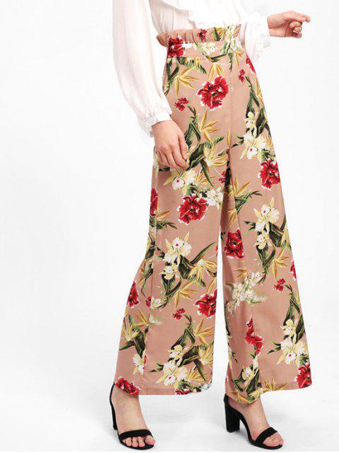 hot Ruffle Floral High Waisted Wide Leg Pants - NUDE PINK S Mobile