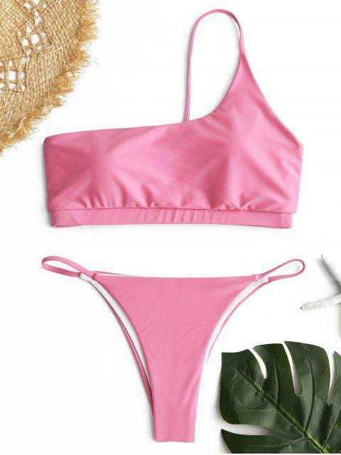 Ein Schulter Bikini Set - Pink S Mobile