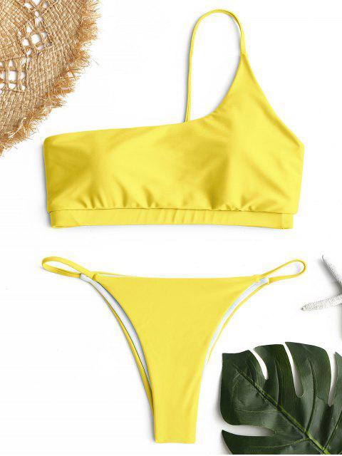 Ein-Schulter-Bikini-Set - Gelb M Mobile