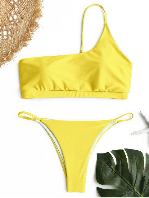 Ein Schulter Bikini Set - Gelb S Mobile