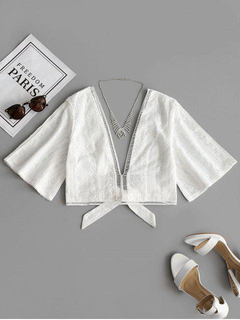 buy Crochet Panel Bowknot Hem Blouse - WHITE L Mobile