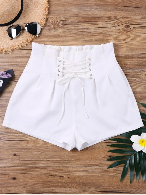 shops High Waist Lace Up Shorts - WHITE XL Mobile
