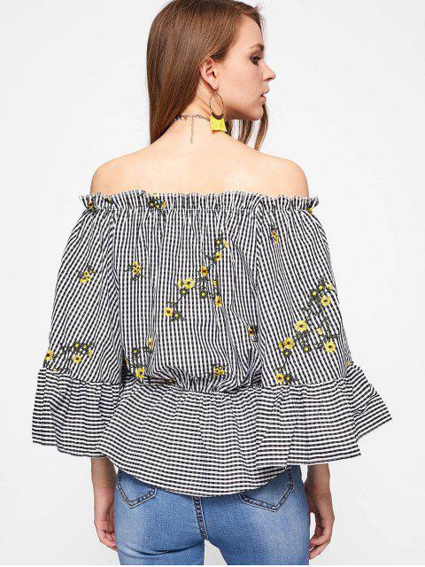 A cuadros bordado de la blusa del hombro - Comprobado L Mobile