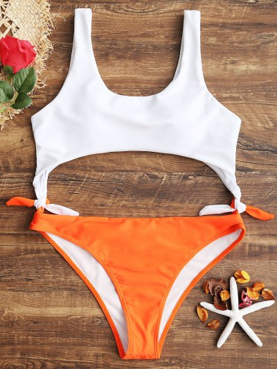 Cutout Two Tone Swimwear - Fluorescent Orange S