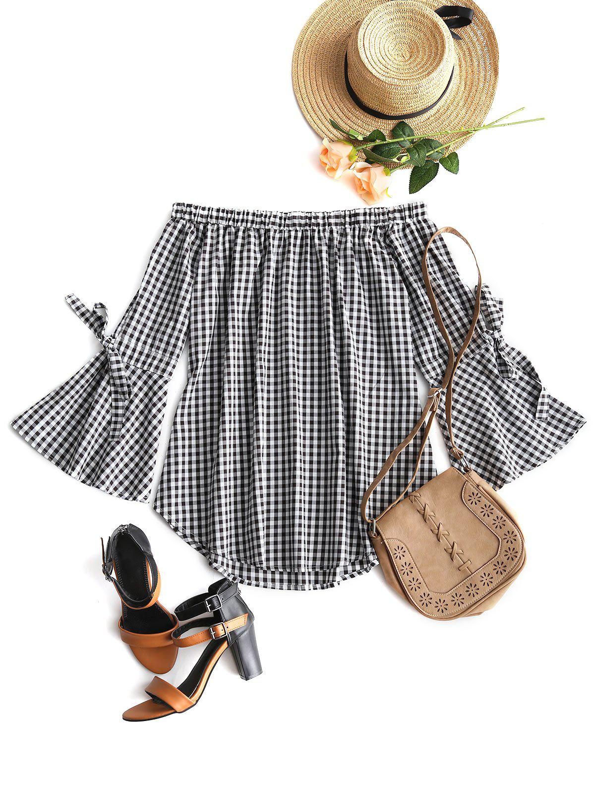 Plaid Off The Shoulder Tunic 249980403