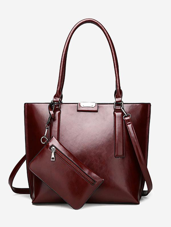 Back Zip Pocket Shoulder Bag with Wristlet