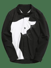 Color Block Cartoon Cat Shirt - Negro 4xl