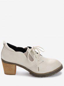 حذاء من الجلد الاصطناعي ذو كعب سميك - اللون البيج 39